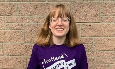 Claire Burden, an Activities Co-ordinator at Kirkburn Court Care Home in Peterhead, is leading a team of staff called the 'Kirkburn Kavaliers' on a 12 mile route on the old Buchan and Formartine Railway Line.