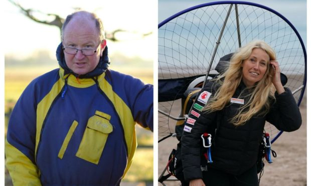 Dan Burton and Sacha Dench were involved in the Sutherland paramotor collision. Photo: WWT/PA