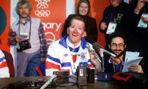 Eddie the Eagle Edwards at the Calgary 1988 Winter Olympics.