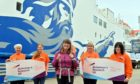 Karen Penny is pictured at the Ferry Terminal in Aberdeen heading to Shetland for the last leg of her journey with (L-R) Anne Kennedy, Alison Blaikie,Caroline Kennedy and Stacy Rowanfrom the charity.