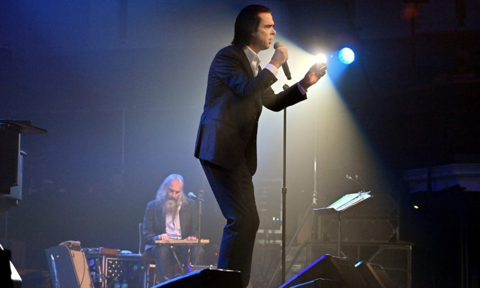 Nick Cave and Warren Ellis performing at the Music Hall.