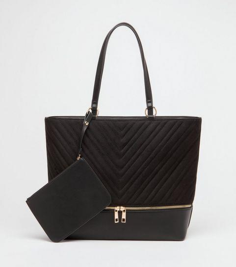 New Look Black Quilted Tote with Detachable Purse £20.99