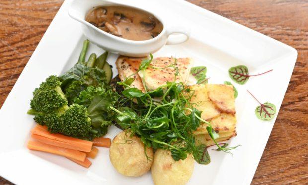 The roast chicken with haggis.