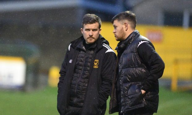 Huntly manager Allan Hale, left, and assistant Stefan Laird