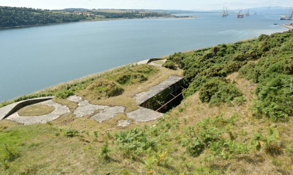 The remains of gun emplacements on Castlecraig Farm, Nigg, overlooking the Cromarty Firth.