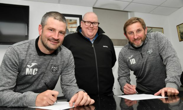 Fraserburgh manager Mark Cowie, left, chairman Finlay Noble, centre, and assistant manager James Duthie