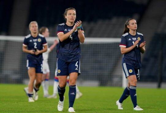 Scotland's Rachel Corsie applauds the fans at full-time after the FIFA Women's World Cup 2023 qualifying match against the Faroe Islands at Hampden Park, Glasgow.