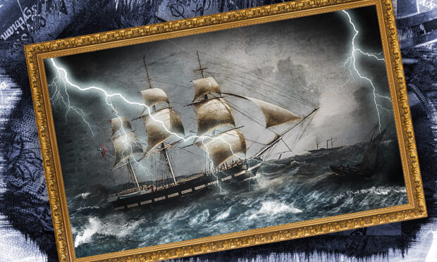 Storm-bound doomed emigrant ship Annie Jane, imagined from a painting by Joseph Heard. National Maritime Museum.