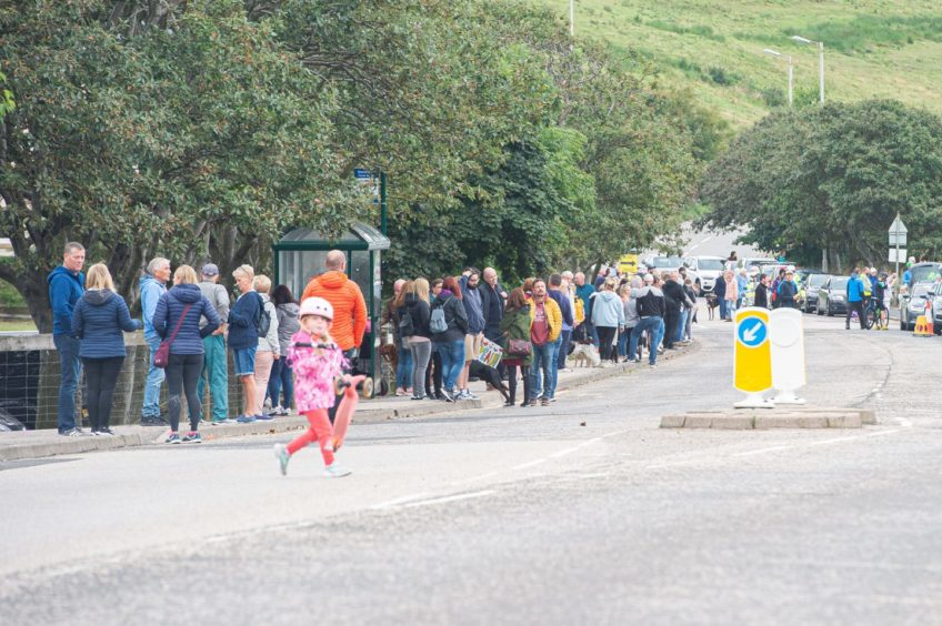 Spectators lined the streets to cheer on participants at the start of the final leg of the Tour of Britain in Stonehaven.