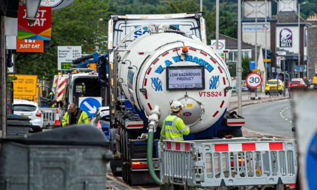 Repair work at Haudagain roundabout. Picture by Wullie Marr.