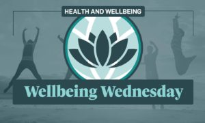 A graphic showing a lotus leaf and the text 'Wellbeing Wednesday'
