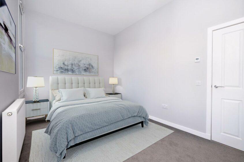 Bedroom of modern apartament in Aberdeen centre