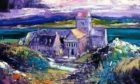 Detail from a painting of Iona Abbey by acclaimed Scottish artist Jolomo.