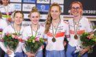 (R-L) Katie Archibald, Megan Barker, Neah Evans and Josie Knight of Great Britain on the women's team pursuit podium.