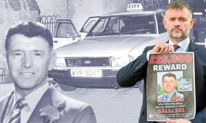 Det Insp James Callander , inset right, with the new reward poster with photos from the investigation into George Murdoch's murder who is inset left.