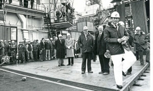 """Prince Charles 1978-02-24 Claymore Field (C) AJL  """"A smiling Prince of Wales during his walkabout on the semi submersible work barge Sedco 704 during his visit to the Claymore field yesterday. The barge is berthed alongside the Claymore platform."""" Picture taken 24 February 1978.  Used: P&J 25/02/1978."""