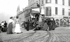 1948 people rush to board the Tram at Castlegate, Aberdeen