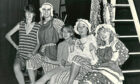 """Aberdeen College of Education Drama Group 1984-10-26 Pantomime (C)AJL  26 October 1984  """"College of Education students Ann Munro, Bruce Fraser, Janice Stott, Sarah Stankler and Gina Hanlon rehearse their pantomine."""""""