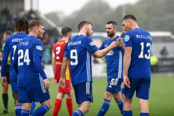 Cove Rangers goalscorers Mitch Megginson and Rory McAllister.