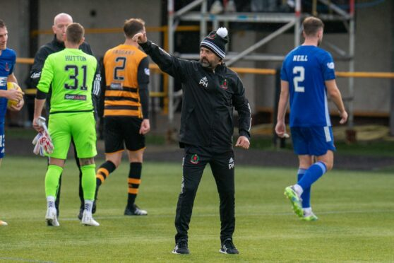 Cove Rangers manager Paul Hartley at full-time against Alloa.