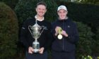 Kemnay's Fraser Laird, right, with Justin Rose at Walton Heath during the Justin Rose Telegraph Junior Championship.