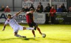 Neil Gauld, right netted two goals for Inverurie against Brechin