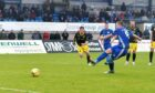 Peterhead captain Scott Brown marks his 200th appearance with a goal.