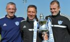 Davie Nicholls (left) with Jim McInally and Craig Tully after winning the League Two title in 2014.