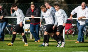 Elliot Duff, centre, celebrating opening the scoring. Picture by Wullie Marr / DCT Media