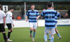 Lachie Macleod celebrates scoring the fifth goal for Banks o' Dee in their resounding 5-0 victory.