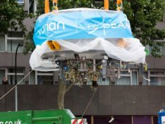 A cyclotron arrives at University College Hospital in London (David Parry/PA)