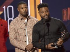 Michael B. Jordan, left, and Ryan Coogler accept the Best mMovie Award for Black Panther at the BET Awards at the Microsoft Theater in Los Angeles (Richard Shotwell/Invision/AP)