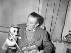 Walt Disney in London to inspect work on his latest production 'Robin Hood', now filming at Denham Studios.
