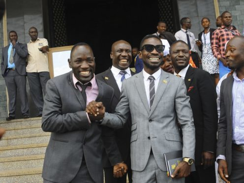 Pop star Kyagulanyi Ssentamu, better known as Bobi Wine, pictured after being sworn-in at parliament (AP)