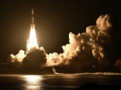 An H-2B rocket carrying the Kounotori 7 cargo spacecraft lifts off from Tanegashima Space Centre (Kyodo News via AP)