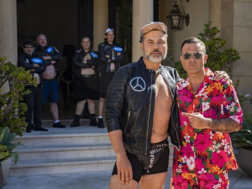 David Walliams and Robbie Williams in Los Angeles for the Judges Houses stage on the ITV1 talent show, The X Factor. (SYCO/THAMES TV)