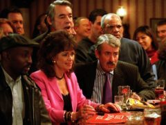 Sue Holderness (Marlene), Roger Lloyd Pack (Trigger) and Patrick Barber (Denzil) in a BBC Only Fools And Horses Christmas Special (Mark Boudillon/BBC)