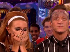 Kevin Clifton face plants cake as he and Stacey Dooley top Strictly leaderboard (BBC/Screengrab)