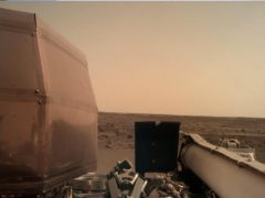 Photo of the surface of Mars taken by the instrument deployment camera (IDC), located on the robotic arm of Nasa's InSight lander (Nasa/JPL-Caltech/AP)