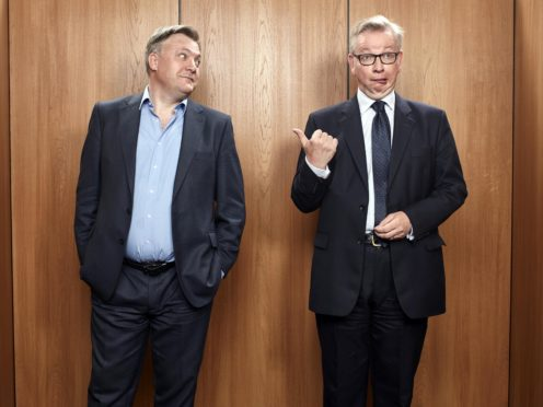 Ed Balls (left) and Michael Gove were filmed dancing at a Christmas party (Channel 4/PA)