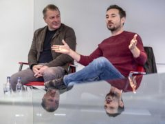 Jed Mercurio and Martin Compston spoke to students at Glasgow Caledonian University (Peter Devlin/PA)