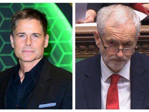 Rob Lowe, left, and Jeremy Corbyn (PA)