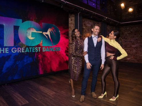 Oti Mabuse, Matthew Morrison and Cheryl from the new BBC One talent show, The Greatest Dancer (Tom Dymond/Syco/Thames/BBC)