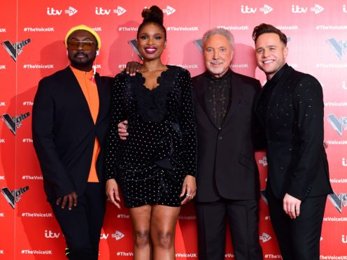 will.i.am, Jennifer Hudson, Sir Tom Jones, and Olly Murs attending the Voice UK launch at the W Hotel, London. (Ian West/PA)