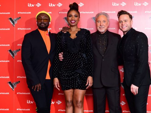 will.i.am, Jennifer Hudson, Sir Tom Jones, and Olly Murs attending the Voice UK launch at the W Hotel, London (PA)