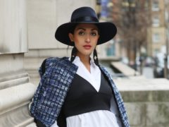 Fashionista Martina Gurgel wears Chanel and Topshop during the Autumn/Winter 2019 London Fashion Week outside Freemasons' Hall, London.