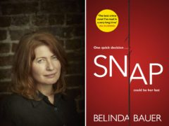 Belinda Bauer with the cover of her novel Snap (Jay Brooks/Man Booker Prize/PA)