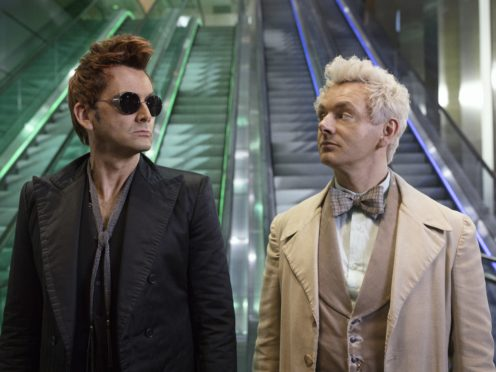 Michael Sheen as the angel, right, and David Tennant as the demon in Good Omens (Amazon Prime Video)