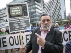 Ricky Tomlinson joins protesters outside BBC Media City in Salford (Danny Lawson/PA)