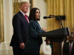 Kim Kardashian West speaks during an event in the East Room of the White House (Evan Vucci/AP)